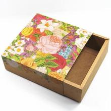 Floral Printing Kraft Paper Drawer Style Wedding Favor Party Gift Candy Boxes