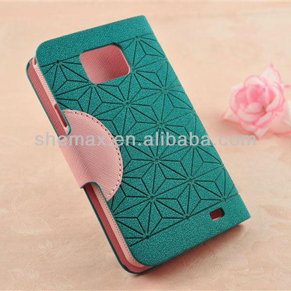 Fashion Card Holder Leather Case with Diamond Flower for Samsung GALAXY S II i9100