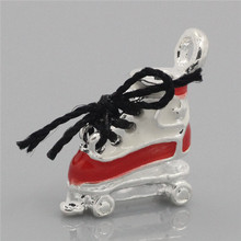 Wholesale Skating Shoes Silver Plated Enamel Black&Red Charms Pendants