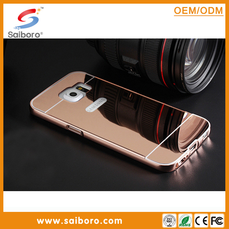 Hot Selling Customized Waterproof Luxury Aluminum Bumper Electroplating Mirror Back Cover Mobile Phone Case for samsung s6 s7