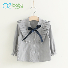 Q2-baby Cheap Products Korean Style Ruffle Long Sleeve V Neck Blouses Shirts For Girls