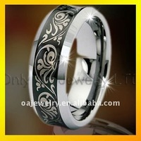 2013 NEW fashionable mens ring ,black engravable tungsten jewelry paypal