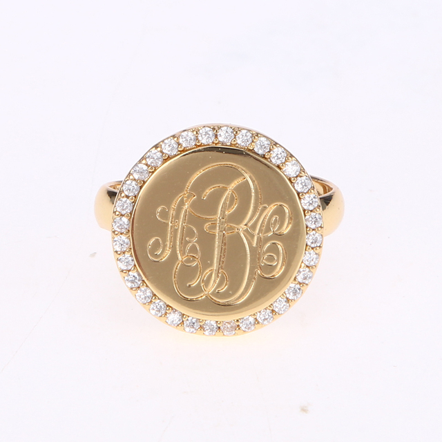 15 mm monogram A-Z letter rings personalized gold plated cubic zircon coin ring custom initial name rings