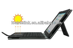 2013 Newest!! Solar Charger Wireless Bluetooth Keyboard Leather Case For Ipad2