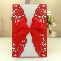 2014 New Design Red Luxury Wedding Invitations with Ribbon