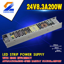 High efficiency 24V 8.3A 200W LED Strip Switching power supply with Single Output for linear light,extra slim light box