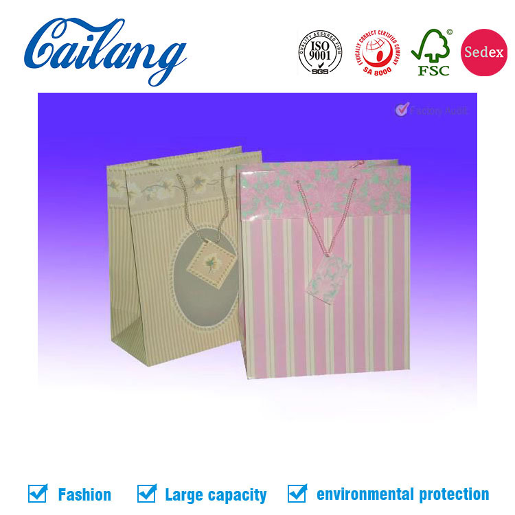Promotional Cailang OEM luxury economic large paper shopping bag