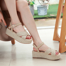 2019 Suede  Straw rope Wedge Heel Shoes Sandals For Women And Ladies wedges Heel sandals Ladies Wedge Heel Flat shoes for women