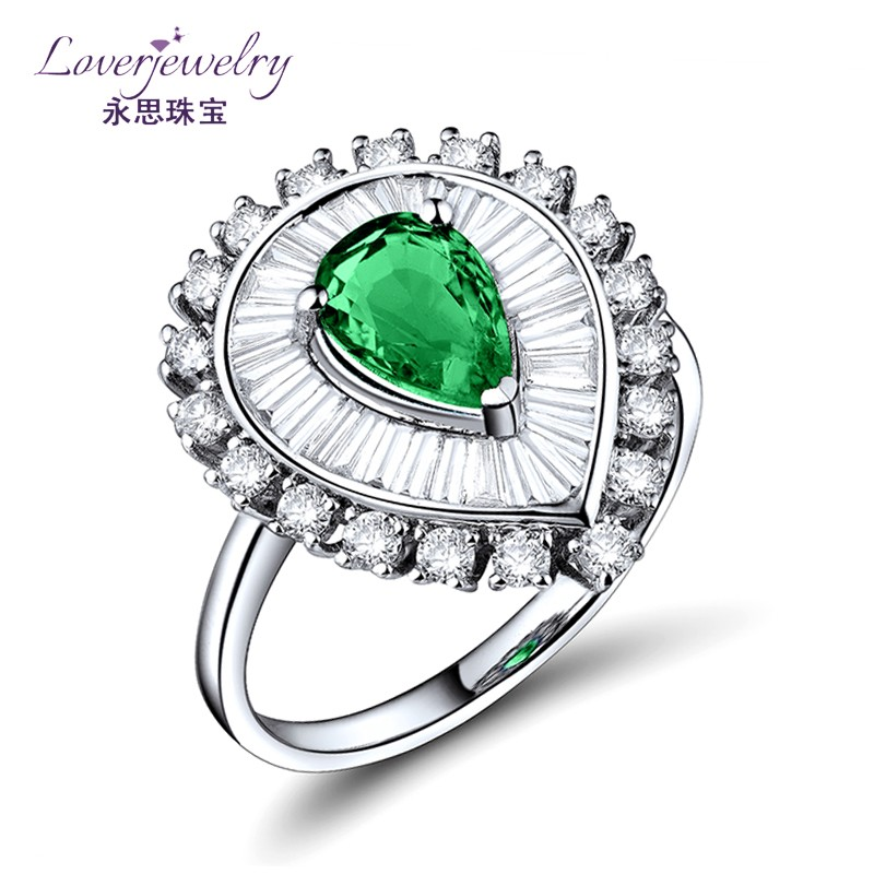 New Arrivals Women 24k Solid White Gold Filled 1.02ct Natural Emerald Peacock Rings USA 2017