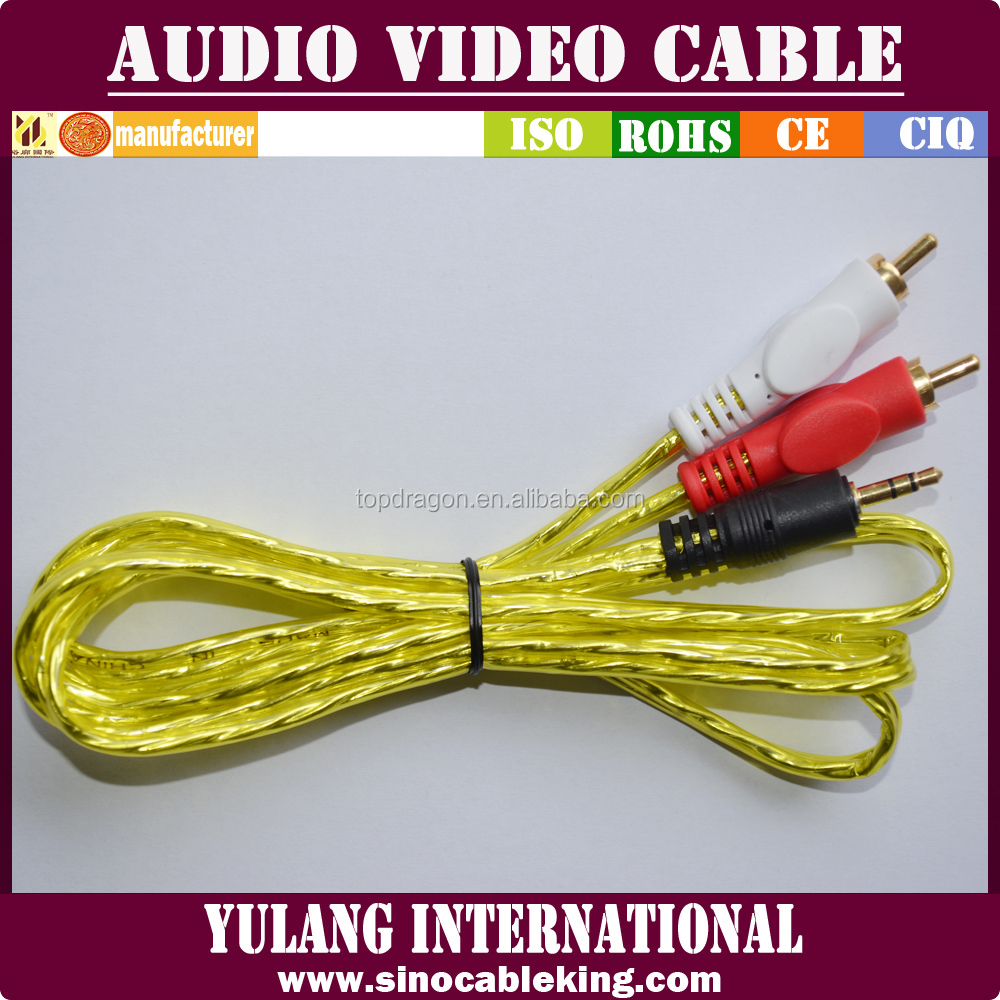 24k gold plated 3.5mm stereo male plug to 2 rca male audio cable