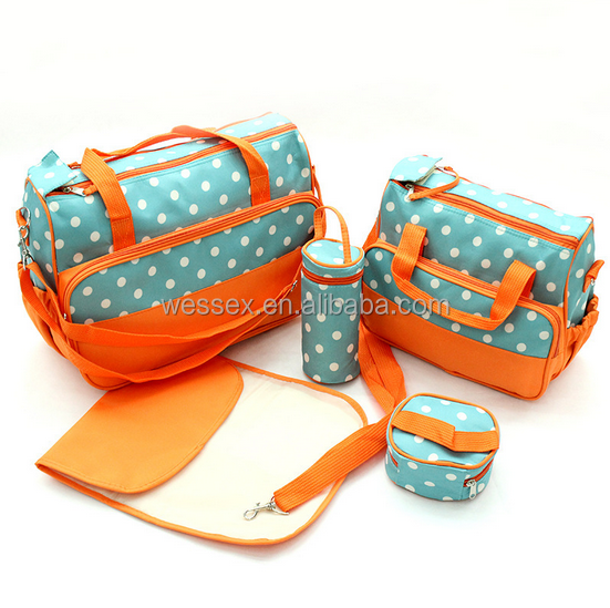 Multi-functional White Dots Mommy Bag 5pcs Set Daiper Bags Baby Bag
