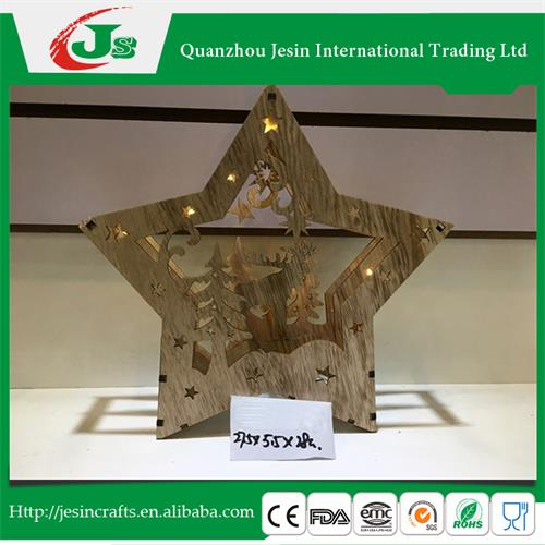 Wooden star decor with led light, for Christmas decoration