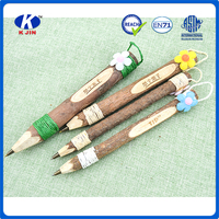 2016promotional wooden ball pen with flower topper for fancy gifts