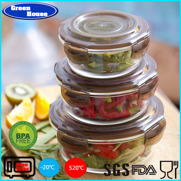 Glass Food Storage Container with Vented Snap Lock Plastic Lid