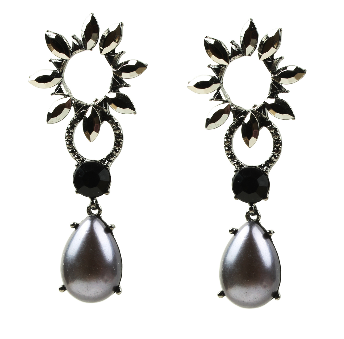 E339098 fashion grey pearl indian jewelry costume indian jewelry new style pearl earrings