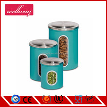 3 Piece Colour Stainless Steel Tea Coffee Sugar Kitchen Storage Canisters Set
