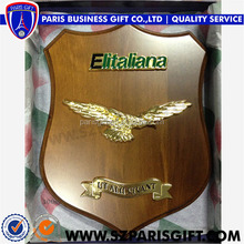 Elitalian Brown Wood Shield Award Souvenir