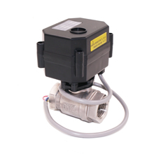"DC12V 2-way Stainless Steel 304 G1"" motor electric ball valve NSF61 with position indicator"
