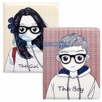 New design hot sale case for Ipad / 3D Glasses Lover Boy and Girl Leather Case for iPad