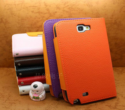leather cell phone case for samsung galaxy note 2 n7100, phone accessory for samsungmobile phone accessory