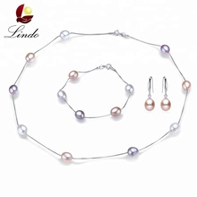 Luxury Designs 925 Sterling Silver Freshwater Pearl Beaded Necklace 3 PCS Jewelry Set For Wedding
