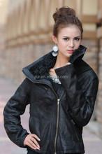 Motorcycle Stylish Women Genuine Sheepskin Leather Jacket Coat With Mongolian Lamb Fur Collar