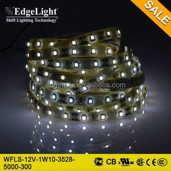 Edgelight waterproof IP65 3528 cool white flexible smd led strip , CE/ROHS/UL , flexible led strip light smd 3528 120 leds