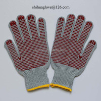 100% Cotton Grey Drill with PVC Dotted Gloves
