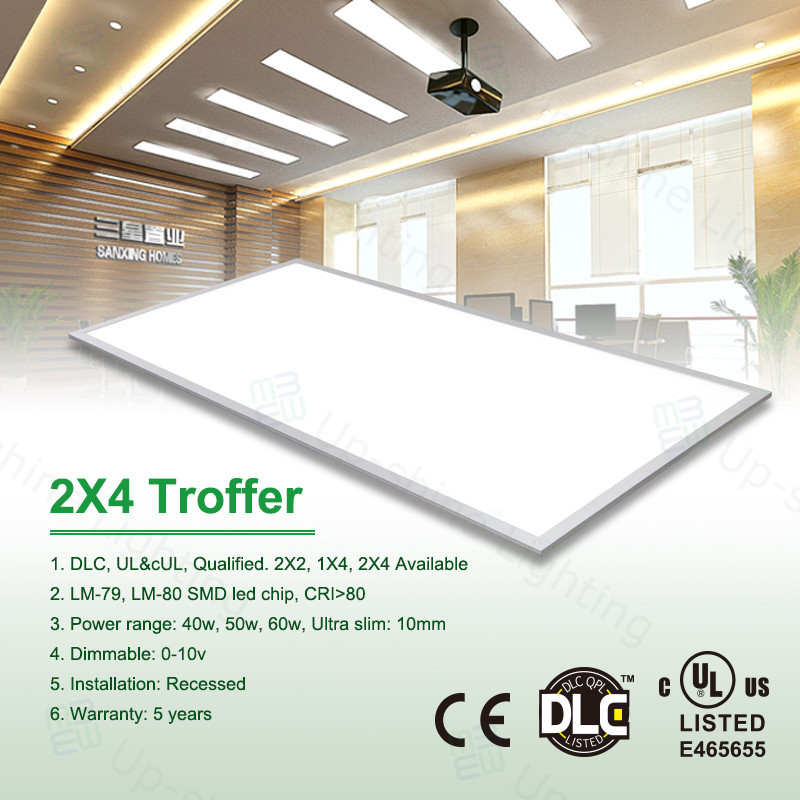 UL cUL DLC approved 5000-5300LM 0-10v dimmable 2X4 led ceiling lighting panel