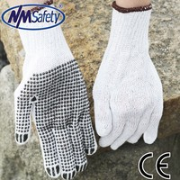 NMSAFETY 100% cotton with dots labour work gloves