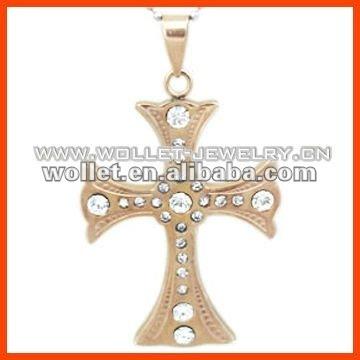 Crystal Titanium Cross Pendant