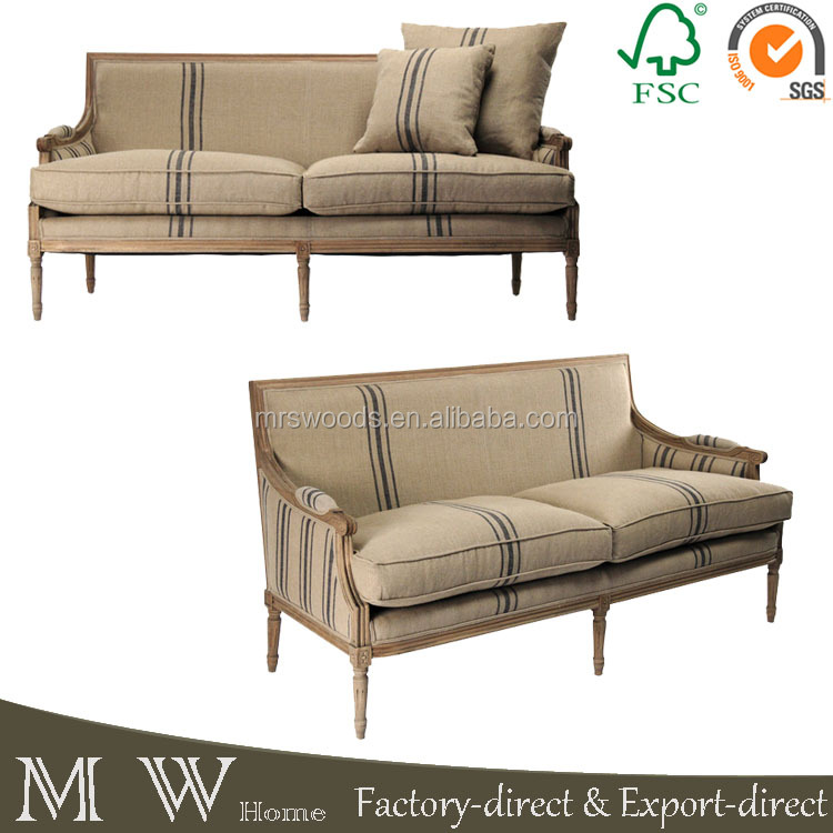 french country living room furniture sofa, blue stripe linen oak wood sofa, stripe linen sofa