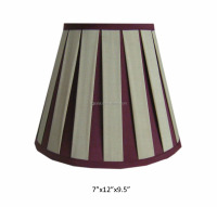 High quality red/brown box pleated 100% silk lamp shade for table