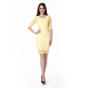 Transparent Stripe Half Sleeve Bandage Dress Wholesale Boutique Clothing China