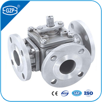 Material stainless steel 304 3 way T ball valve with flange end