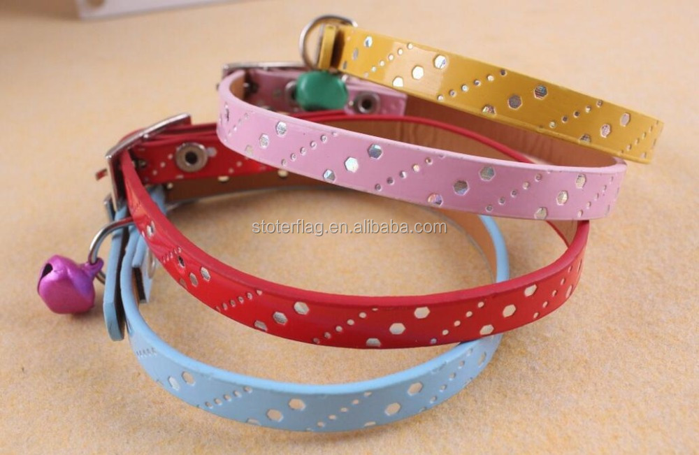 Adjustable PU pet dog collar with bell
