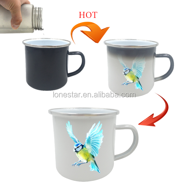 new products 2017 450ml green type logo printing iron cast enamel hot color changingcup tea mug for offices