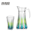 2018new design creative colorful drinking glass jug set 7pcs factory price