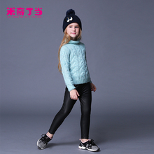 Multicolor polyester PU leather plain tight girl pants children down trousers