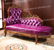 high end dubai purple leather wood carved chaise lounge, one person sofa bed furniture