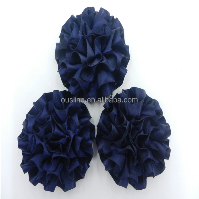 Navy ribbon <strong>flowers</strong>,handmade satin ribbon <strong>flowers</strong>