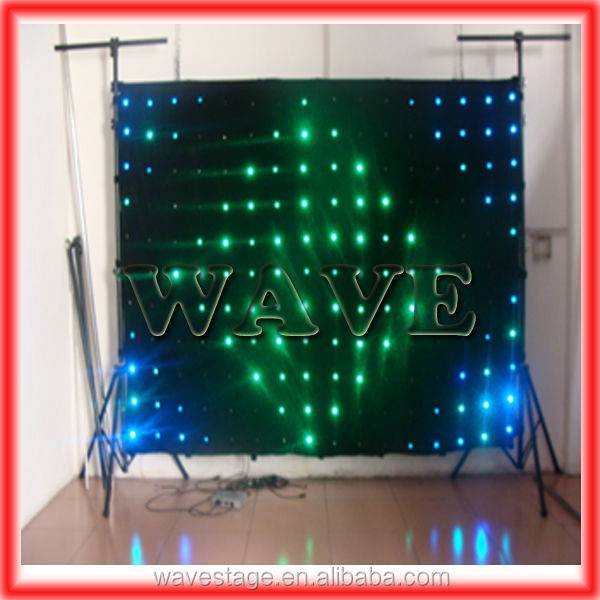 Good WLK-1P18 Black fireproof Velvet cloth RGB 3 in 1 led curtain backdrop star led lights effects