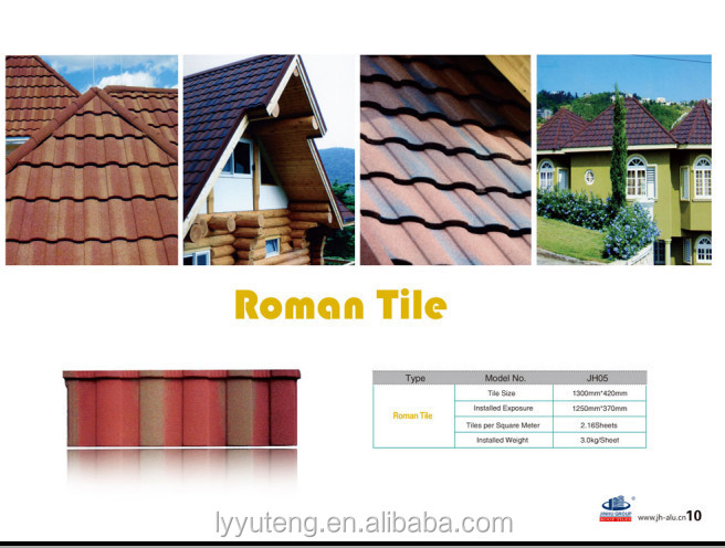 European polymer light weight sun stone coated metal roof tile