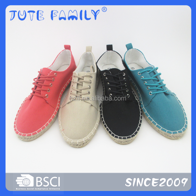 Colourful canvas jute sole and rubber women espadrille casual shoes