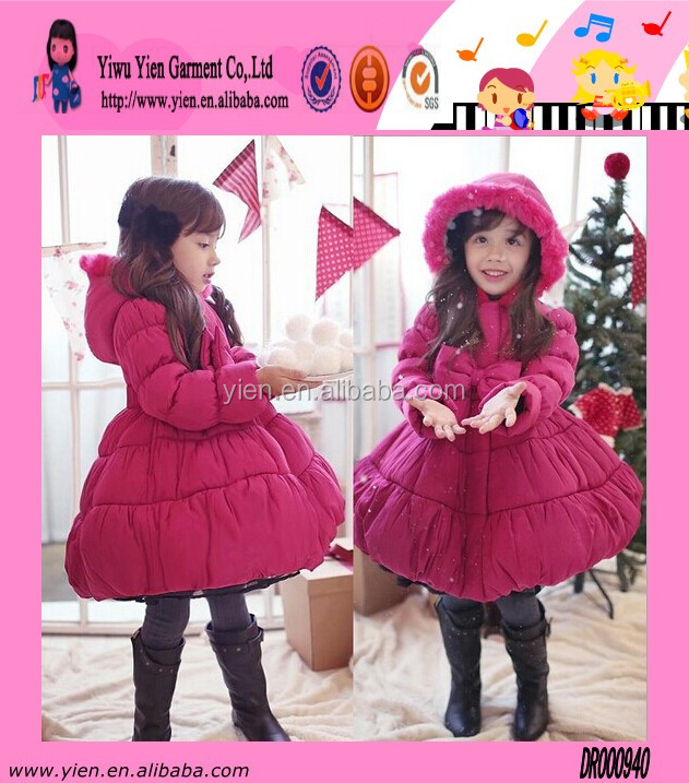 Fashion Hot Sale Red Christmas Girl Dress High Quality Thicken Warm Sunshine Winter Party Child Dress