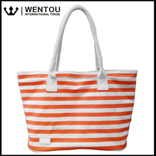 Fashion Color Printing Cotton Striped Canvas Shopping Tote Bag