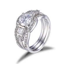 JewelryPalace 925 Sterling Silver Jewelry Anniversary Wedding Band Solitaire Engagement Ring Bridal Sets