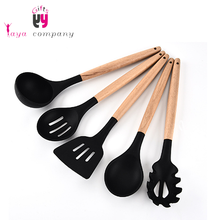 Custom Wood Handle Food Grade Silicone Kitchen Ware Cookware Set