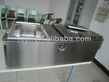camper trailer stainless steel kitchen