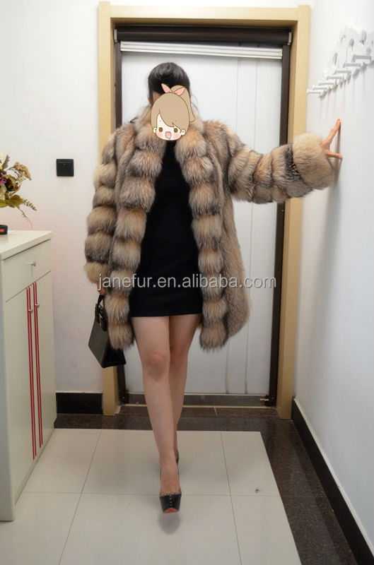 2015 Janefur Lady's Fashion And Noble Gold Fox Fur Garment/Scheduled Style